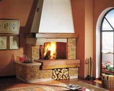 дровяной камин в интерьере