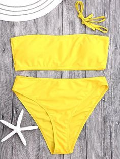 SHARE & Get it FREE | Padded High Cut Bandeau Bikini Set - Yellow SFor Fashion Lovers only:80,000+ Items • New Arrivals Daily Join Zaful: Get YOUR $50 NOW!