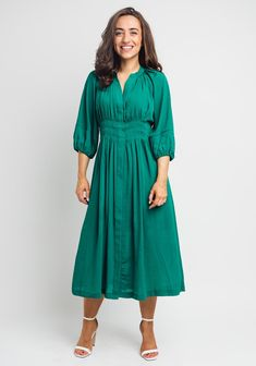 Pleated Shirt, Shirt Dress, Green Dress, Trends, Casual, Sleeves, Shirts, Dresses, Fashion