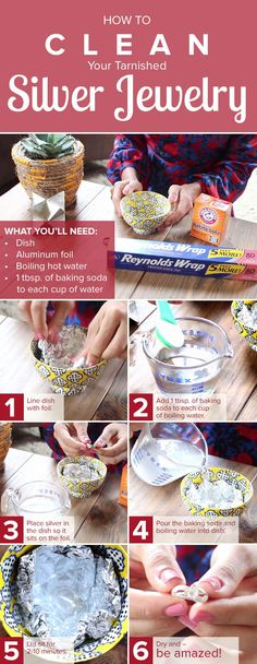 Jewelry Making Ideas Make a homemade DIY jewelry cleaner to remove tarnish on your favorite silver necklaces, bracelets, earrings and rings. All you need are baking soda and water. - It's that simple! Homemade Jewelry Cleaner, Diy Necklace Cleaner, Earring Cleaner, How To Clean Silver, Clean Silver Ring, Do It Yourself Jewelry, Cleaning Silver Jewelry, Silver Jewelry Cleaner, Silver Cleaner Diy