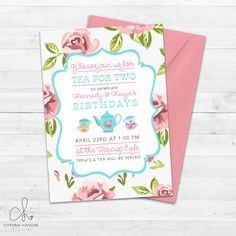 Tea Party Invitation  Little Girls Birthday by ChynnaHansenDesigns