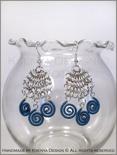 Illyricum Blue - unique chainmaille earrings. #jewelry #ksenyajewelry #earrings #chainmaille #wirejewelry #blue