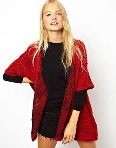 Image 1 ofASOS Kimono Cardigan In Textured Fabric with Zip