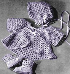 Infant Baby Outfit in Shell Stitch Vintage Crochet Pattern for download