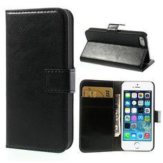 Köp Läderplånbok Apple iPhone 5/5S/SE svart online: http://www.phonelife.se/laderplanbok-apple-iphone-5-5s-se-svart