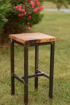 Wood and Steel Barstool Reclaimed Lumber by ElpersDesign on Etsy Wood Crafts Furniture, Iron Furniture, Steel Furniture, Industrial Furniture, Furniture Projects, Wood Projects, Wood Steel, Wood And Metal, Mesa Metal