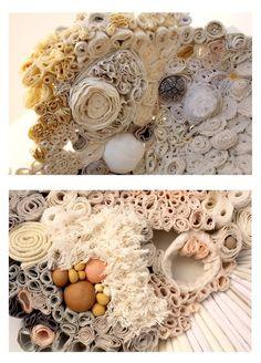 pupa details again Textile Sculpture, Textile Fiber Art, Textile Artists, Soft Sculpture, Textured Wedding Cakes, Textiles Techniques, Circle Art, Roman Art, Sewing Art