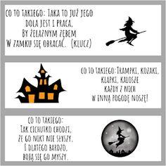 Andrzejki w przedszkolu - pomysły i pomoce dydaktyczne Halloween Diy, Superhero Logos, Activities, School, Movie Posters, Puzzle, Party, Puzzles, Film Poster
