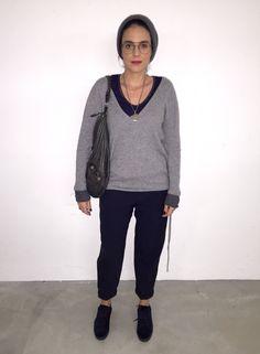 OOTD: Maje pants- Petit bateau shirt- Zadig & Voltaire cashmere knit- Maje sneakers- Balenciaga bag- The Kooples hat