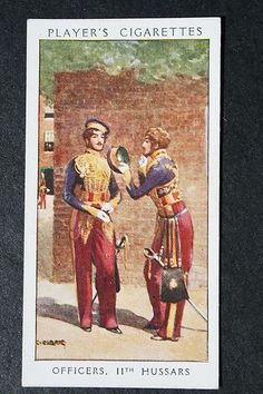 11th Hussars Officers 1840 British Army Original 1930's Vintage Card