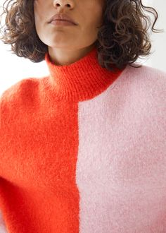 Two-Tone Mock Neck Sweater - Orange/Pink - Sweaters - & Other Stories GB