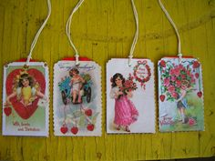 Vintage Valentine Tags / Set of Four is $10.00 or one for $3.00.by TillyFritz,