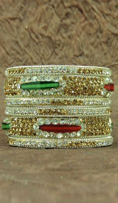 #Bangles & #Bracelets - Multicolored Stone Studded Bangle Set Costs Rs. 692. #Jewellery. BUY it here: http://www.artisangilt.com/imitation-jewellery-fashion-jewelry/bangles-bracelets/multicolored-stone-studded-bangle-set-106666.html?ref=pin