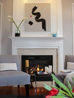 Clean Modern Living Room Fireplace