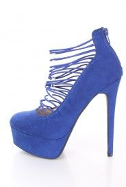 Royal Blue Strappy Platform Heels Faux Suede Strappy Platform Heels, Gladiator Heels, Platform Boots, Cheap Heels, Cheap Boots, Women's Shoes, Dress Shoes, Cute Pumps, Sexy High Heels
