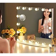 LUXFURNI Vanity Mirror with Makeup Lights, Large Hollywood Light up Mirrors w/ 18 LED Bulbs for Bedroom Talbetop & Wall… Lighted Vanity Mirror, Makeup Mirror With Lights, Wall Mirrors, Best Vanity Mirror, Hollywood Makeup Mirror, Makeup Dressing Table, Hollywood Lights, How To Clean Mirrors, Beautiful Mirrors