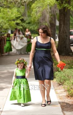Bright green and navy silk flower girl dress ny Pegeen.com