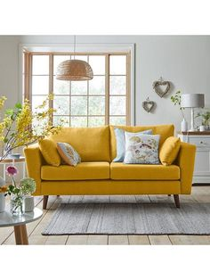 Ideal Home Porter Fabric 3 Seater Sofa - Mustard | very.co.uk
