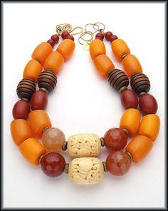 SOLD! JUMANJI  Carnelian  Amber Resin  Bone  by sandrawebsterjewelry, $210.00