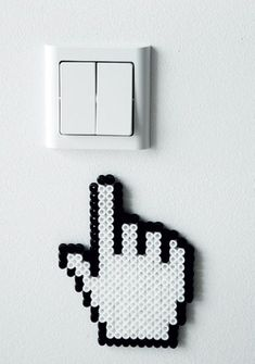 Sweet and funny detail for home's electrical outlets - diy with hama beads Perler Bead Designs, Perler Bead Templates, Hama Beads Design, Pearler Bead Patterns, Diy Perler Beads, Bead Embroidery Patterns, Perler Bead Art, Perler Patterns, Pearler Beads