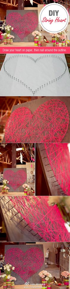 Let the kids help with this easy DIY string art project. Plus, it makes for a great Valentine's Day gift for a loved one!