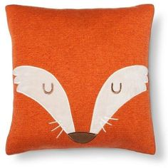 "Pillowfort Fox Square Throw Pillow (14""X14"") Orange"