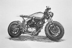 Serie of cafe-racer, scrambler and ATV concepts -water-soluble, sketching pencils, calligraphic pens. Motorcycle Types, Motorcycle Art, Motorcycle Design, Bike Art, Bike Design, Yamaha Virago, Virago Cafe Racer, Bike Sketch, Car Sketch