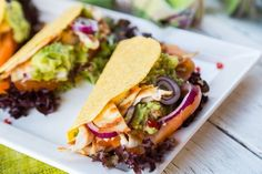 Skinny Tacos with Guacamole and Grilled Chicken- These are so yummy!! #chickentacos
