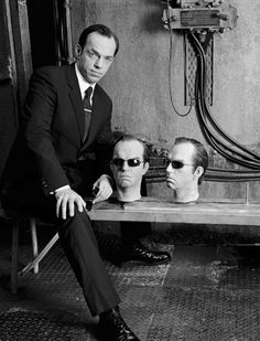 Hugo Weaving with his heads on The Matrix.