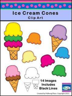 Ice Cream Cones Clip Art - FREE