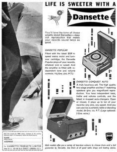 This is a 1962 advertisement for a Dansette Record Player. Retro Record Player, Record Players, Cathy Mcgowan, Advertising, Ads, Baby Grows, Audio Equipment, Growing Up