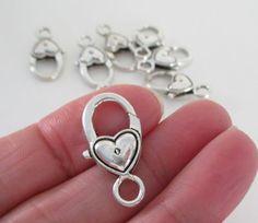 Antique Silver Lobster Clasp  Heart Shaped Lock by BijiBijoux