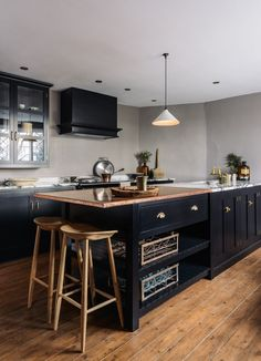 Printers Black Shaker cupboards, our new handmade deVOL brass cup handles, a mixed copper and San Simone worktop and a few of our artisan products...is this the ultimate dream kitchen?