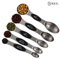 Goldbaking Magnetic Measuring Spoons Stainless Steel set of 5 for Measuring dry and Liquid Ingredient for Home and Kitchen Scale Buy Kitchen, Kitchen Tools, Kitchen Gadgets, Kitchen Stuff, Cooking Gadgets, Cooking Tools, Latest Gadgets, Cool Gadgets, Hacks