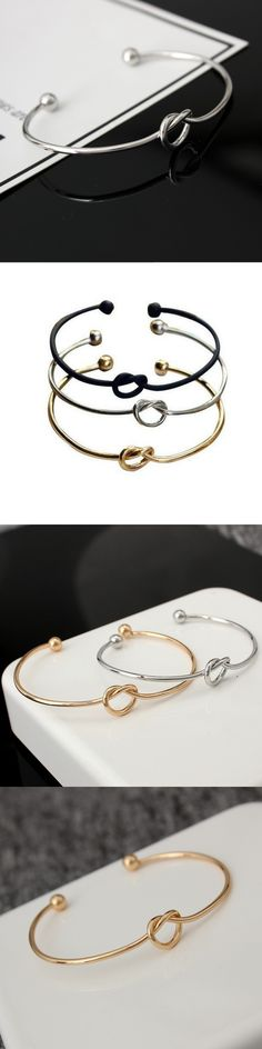 SPINNER Fashion Original Design Simple Love Knot Open Metal Bangle Bracelet For Women Loves Charm Bracelet Jewelry Gift