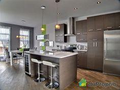 cellier ilot Modern Kitchen Cabinets, Decor, Kitchen Remodel, Modern Kitchen, Interior, Modern, Home Decor, Kitchen Cabinets, Deco