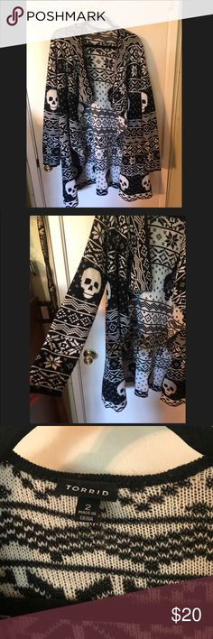 Torrid Sweater Comfortable, open front. ❤ Skull and Snowflake torrid Sweaters Cardigans