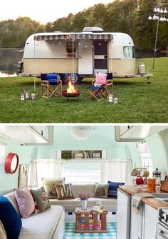 Smart and Stylish Ways to Update an Old Travel Trailer For the Airstream makeover challenge, Country Living style editors took a 1973 Argosy Airstream from drab to dreamy. Steal their tips for decorating your own trailer. Kombi Motorhome, Airstream Travel Trailers, Vintage Campers Trailers, Camper Trailers, Shasta Camper, Airstream Remodel, Trailer Remodel, Camper Renovation, Diy Camper