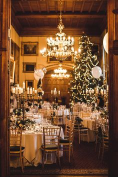A festive filled room for a winter wedding reception.  Photo: S6 Photography
