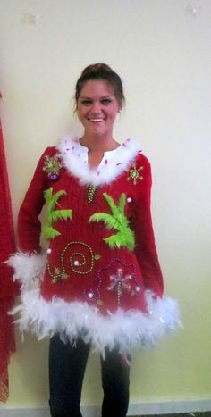 Ugly sweater diy idea for Christmas Xmas grinch Tacky Christmas Party, Diy Ugly Christmas Sweater, Holiday Sweater, Grinch Christmas, Christmas Outfits, Christmas Stuff, Christmas Time, Tacky Sweater, Ugly Sweater Party