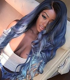 xiweiya body wave dark root ombre blue to yellow synthetic lace front wig with heat resistant fiber for women