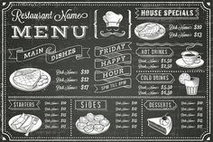 Vector Chalkboard menu Template by FourLeafLover on Creative Market