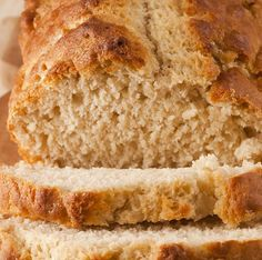 3 cups self-rising flour 1/4 cup sugar 1 bottle (12 ounces) beer 1/2 cup melted butter  Directions: Preheat the oven to 375 degrees. S...