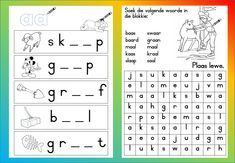 Teaching Resources for South African Teachers Grade R Worksheets, Phonics Worksheets, Worksheets For Kids, Teaching Math, Teaching Resources, 2nd Grade Spelling Words, Afrikaans Language, Handwriting Practice Sheets, Site Words