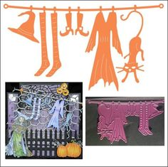 Witch's Laundry Halloween metal die by Cheery Lynn Designs B334