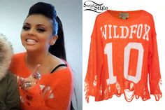 Jesy Nelson and the Little Mix girls did the countdown to Christmas on youtube. She wore the Ten Intarsia Lennon Sweater from Wildfox ($209.00). You can find the same sweater for $175.49 at ebay.