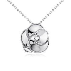 Abstract Flower Pendant in Sterling Silver