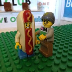 @bill_billson04 having a fun time with the supporters! #gograsshoppers #lego #hotdogman