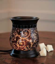 PartyLite Amaretto Swirl ScentGlow Warmer - looks gorgeous in any room. I keep mine in my living room. Safer because it relys on a bulb instead of candle. Scent Warmers, Electric Warmer, Candles Online, Candle Accessories, Candle Warmer, Crushed Glass, Scented Oils, My Living Room, Mosaic Glass