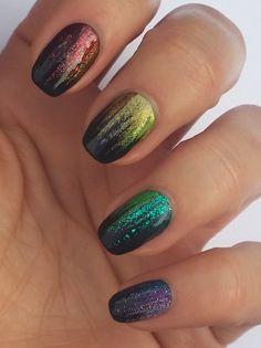 this is stunning, rainbow on black via @Phyrra #nail #nails #nailart